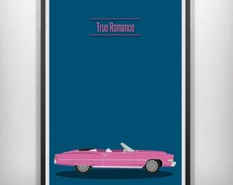 True romance pink cadillac minimal minimalist movie film print poster