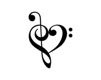 Treble Bass Clef Heart