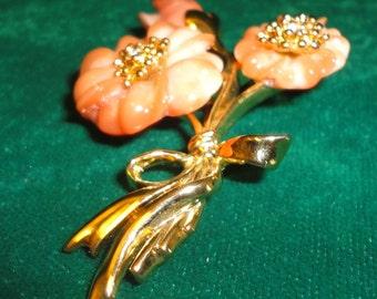 Vintage Simulted Coral Flower Brooch*****.