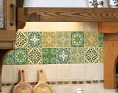 Tile decals SET OF 15 tile stickers for kitchen tiles, backsplash colorful green Moroccan tiles vintage style vinyl stickers