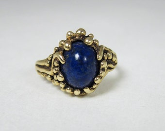 Vintage 14K Gold Lapis Ring by David Blonski    GLR01-Lapis - FREE SHIPPPING