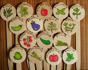 Custom Vegetable and Herb Row Markers Handmade Wooden Plant Marker Nature