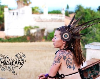 Native indian headband, Burning man headband by Belisamag, tribal fusion headdress, tribal headdress, pheasant headdress, crystal headdress.