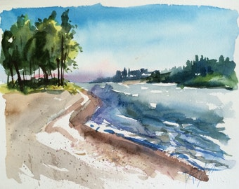 Columbia River Washington Watercolor Landscape original art 8 x 10 inch