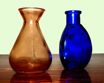 Antique Bottles - Vases,  Pink and Cobalt Blue