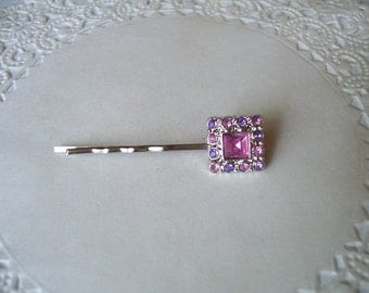 Upcycled Jewelry Hair Pin (182) - Purple and Pink Rhinestone Hair Pin - Jeweled Bobby Pin
