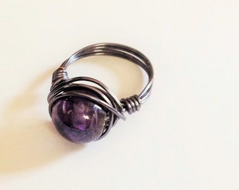 Purple wire wrapped ring