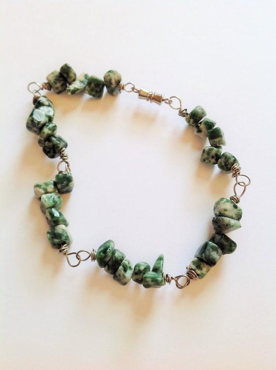 wire wrapped tree agate gemstone bracelet