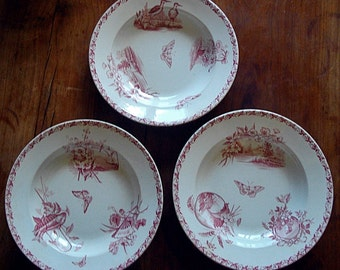 Set No 1 of 3 French  antique soup plates from BADONVILLER , circa 1900 : birds , flowers , landscapes