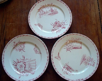 Set No 2 of 3 French  antique dessert plates from BADONVILLER , circa 1900 : birds , flowers , landscapes