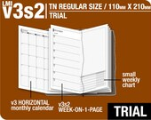 Trial [TN regular v3s2 w/o DAILY] June to August 2016 - Midori Travelers Notebook Refills Printable Planner.