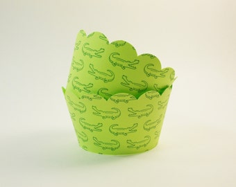 Alligator Cupcake Wrappers, Lime Green Cupcake Holders, Birthday Party, Alligator Theme,Party Decoration, Set of 12, Standard Size