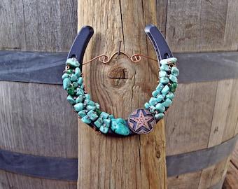 Copper Star Concho Horseshoe, Copper Turquoise Horseshoe, Horseshoe Decor, Rustic Horseshoe,