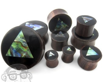 """Abalone Triangle Shell Wood Plugs (0G - 1 & 1/4"""" Inch) - Sold in Pairs - New!"""