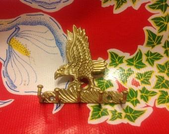 Vintage brass eagle key holder