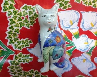 Vintage beautiful ceramic hand painted Siamese cat with floral designs- China