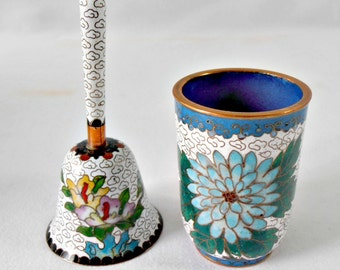 Vintage Asian Cloisonne Hand Bell and Tea Cup - Set of 2 - Asian Chinoiserie White and Blue Asian Decor Peony Floral Design