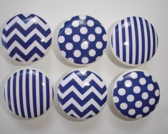Set of 6 Navy Chevron Polka Dot Stripe Striped Dresser Drawer Knobs