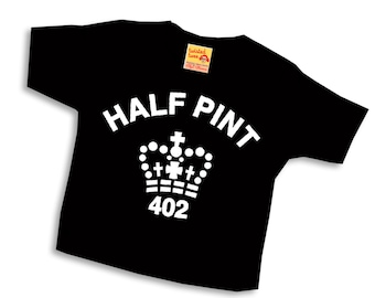 Black Half Pint T shirt for Son or Daughter - pure cotton tshirt tee