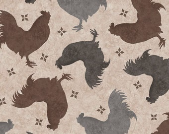Rooster Fabric - Color Bakery Bon Jour Tossed Roosters - Quilting Treasures 23906 A - Taupe - 1/2 yard