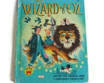 Wizard of Oz Vintage Wonder Books Childrens Story Book 50s Land of Oz Classic Colorful Illustrations Paper Ephemera No Place Like Home
