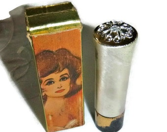 Vintage Avon Lipstick, 60s 70s Lipstick Case, Mod Makeup Cosmetics, Beauty Vanity Collectible, 1960s Fashion, Frosted Lips Highlight Makeup