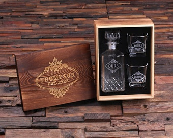Personalized Engraved Etched Scotch Whiskey Decanter Bottle with Wood Box Groomsmen Man Cave Just & Personalized Engraved Etched Scotch Whiskey Decanter Bottle Aboutintivar.Com