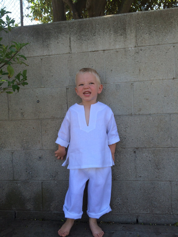 Kids Linen Beach Outfit Toddler Beach Wedding Suit Baby