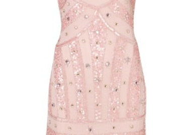 Pink beaded vintage inspired dress.