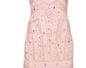 Pink beaded vintage inspired dress.