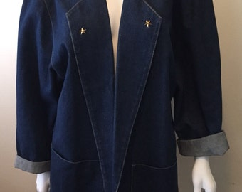 Your boyfriend is back.....1980's BIS denim boyfriend blazer fantastic! Stars & lace