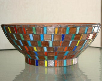 Mosaic Planter - Terracotta and Glass Bowl
