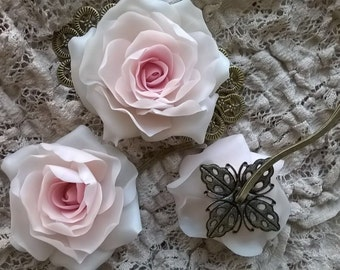 Pink Rose Hair Clip + 2 Hair Pins from ADELINA Collection Wedding Hair Bridal Hair