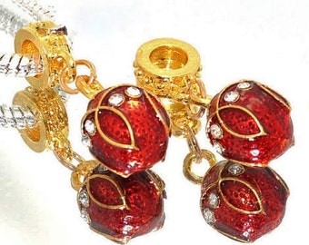 1x Red Dangle Faberge Bead - Large Hole - Fits European Bracelets and Necklaces - Red Dangle Bead - Red Faberge Bead
