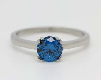 Genuine London Blue Topaz 1ct solitaire ring in Titanium or White Gold - engagement ring - wedding ring - handmade ring