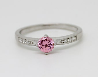 Sterling Silver and genuine pink sapphire solitaire ring - engagement ring - wedding ring