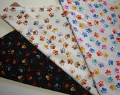 ALL ON SALE!  Multicolor Paw Prints in Three Styles to Choose From Dog Scarf Over the Collar Dog Bandana