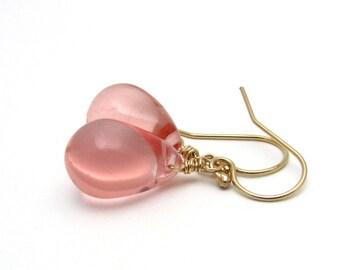 Pink glass earrings, pink teardrop earrings, pink drop earrings, gold Czech glass jewelry, gold pink jewelry, glass drop earring,womens gift