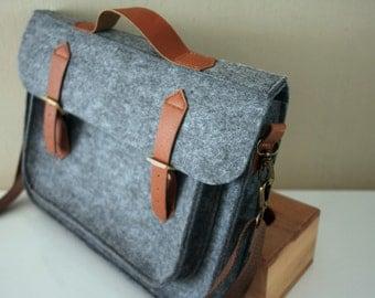 "11"" Felt MacBook Air Bag Sleeve - Wool Felt Laptop Bag MacBook Sleeve, Two Pockets Messenger Bag - 40% OFF / Adjustable Crossbody Belt"