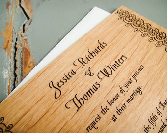 Custom Wedding Invitation, Engraved Wedding Invitation, Wood Wedding Invitation, Unique Invitations, Engraved Wedding Favors, Custom Designs