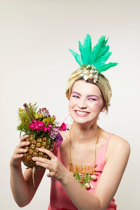 Club Tropicana Headdress, Pineapple Headdress, Hen Do Headdress, Tropical Alternative Hen Party Tiara, Carmen Miranda