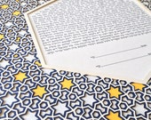 Papercut Ketubah Geometric Jewish Stars Intricate, Traditional and Abstract for any Jewish Wedding From Orthodox to Interfaith Custom Colors