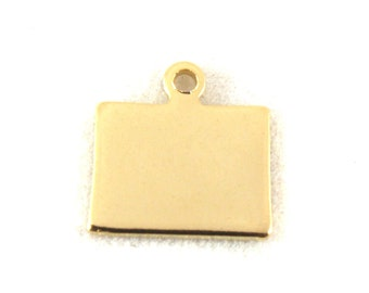 2x Gold Plated Blank Colorado State Charm - M115-CO