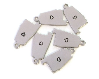 2x Silver Plated Alabama State Charms w/ Hearts - M070/H-AL