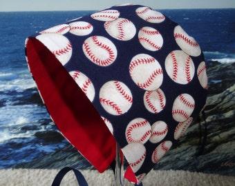 Baby Bonnet Sun Hat Beach Visor Grow With Me Tied Boy Cap - Play Ball - Size 5 - 24 months