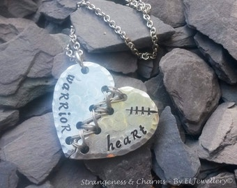 Hand stamped 'Warrior Heart' Aluminium Broken Heart Necklace, Unique, Stitched Heart, Recovery, Heart Surgery,,Unique, Metal Word Jewellery