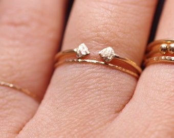 14K gold filled double arrows ends  ring-simple stack ring-one ring