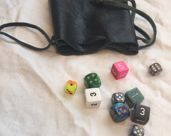 Leather Dice bag with Ten 6 Sided Dice