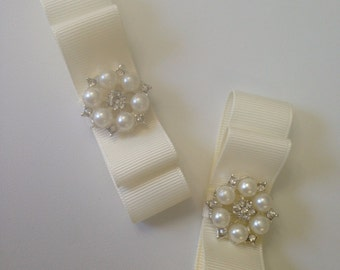 Ivory and Pearl Shoe Clips