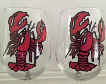 Hand Painted Lobster Wine Glasses - set of 2